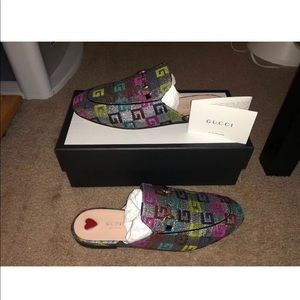 *Authentic* Gucci Velvet GG Lurex Cube Slippers